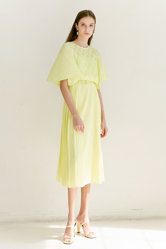 [6/2 예약배송] ELENA Pleated Cape detail midi dress (Lemon)
