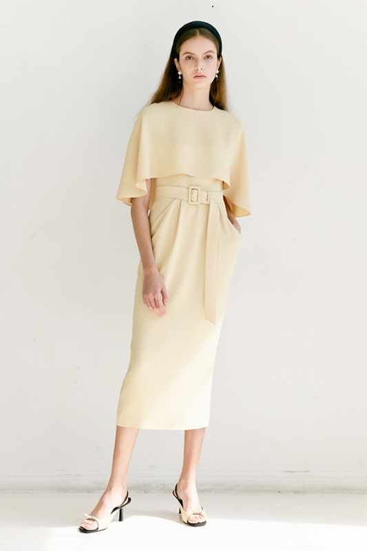 GRACE Cape detail Cowl-line dress (Butter)